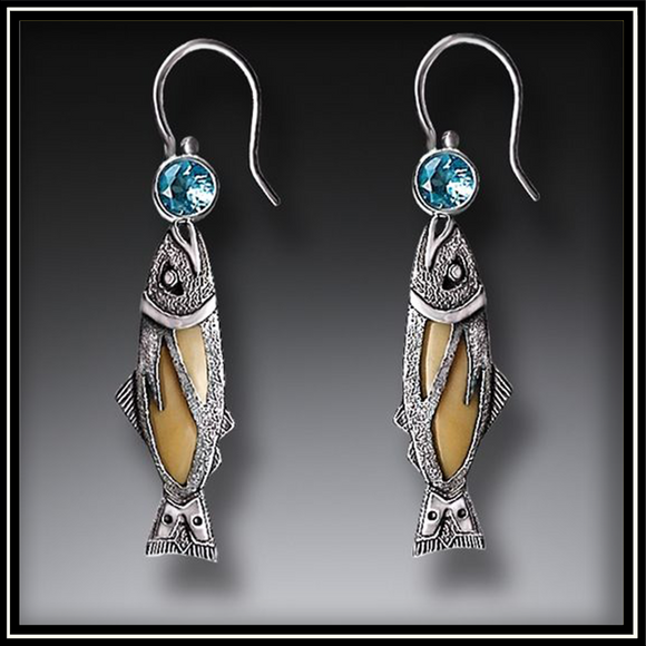 Treasures from the Sea Fossilized Walrus Ivory and Blue Topaz Fish Earrings