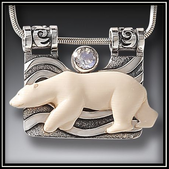 The Seeker Mammoth Ivory Polar Bear Necklace with Rainbow Moonstone