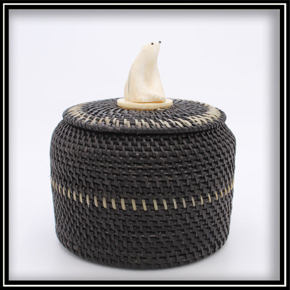 Baleen Basket with Walrus Ivory Bear