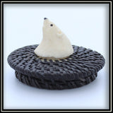 Baleen Basket with Walrus Ivory Bear Head