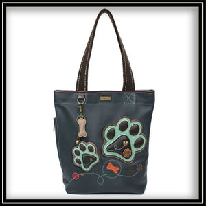 Teal Paw Print - Everyday Zip Tote