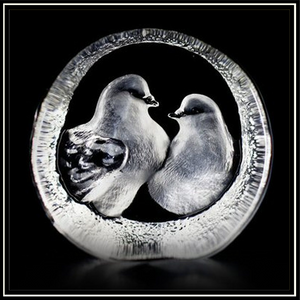 Crystal Turtle Doves Paperweight