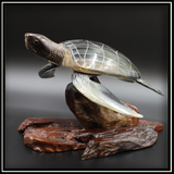 Horn Turtle on Rosewood Base