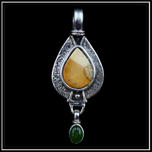 Walrus Ivory and Jade Pendant