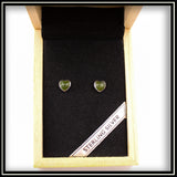 Jade Heart Stud Earrings 7mm