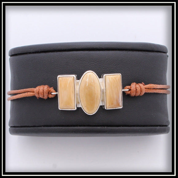Mammoth Ivory and Leather Bracelet