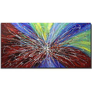 Tiancheng Art 24 x 48 Inch Abstract Art Painting 3D Oil Hand Painted on Canvas Wall Art Prints Framed Palette Knife Oil Canva Painting Acrylic Ready to Hang