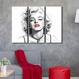 Contemporary Wall Art Modern Fashion Women with Red Lip Canvas Print Stylish Feminine Wall Art Painting Framed Cityscape Piture Ready to Hang for Home Decoration (28x28inch)