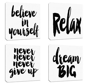 "4Pcs x Motivational Quotes Motto Inspirational Success Teamwork Canvas Stretched Wood Framed Combine Modern Abstract Art for Home Room Office Wall Print Decor 12x12"" (30x30cm) (657-660)"