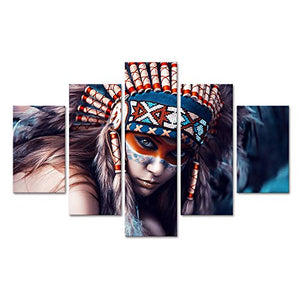 Extra Large Ancient Native American Painting on Canvas 5 Panel Wall Art Retro Indian Chief Mystic Picture Print Artworl Home Decor Framed for Living Room Giclee Stretched Ready to Hang(60''Wx40''H)