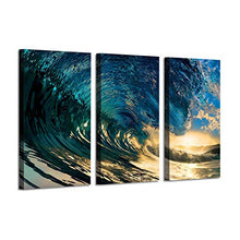 Load image into Gallery viewer, Ocean Wave Picture Wall Art: Blue Seascape Painting Print on Canvas Artwork for Bedroom (26'' x 16'' x 3 Panels)