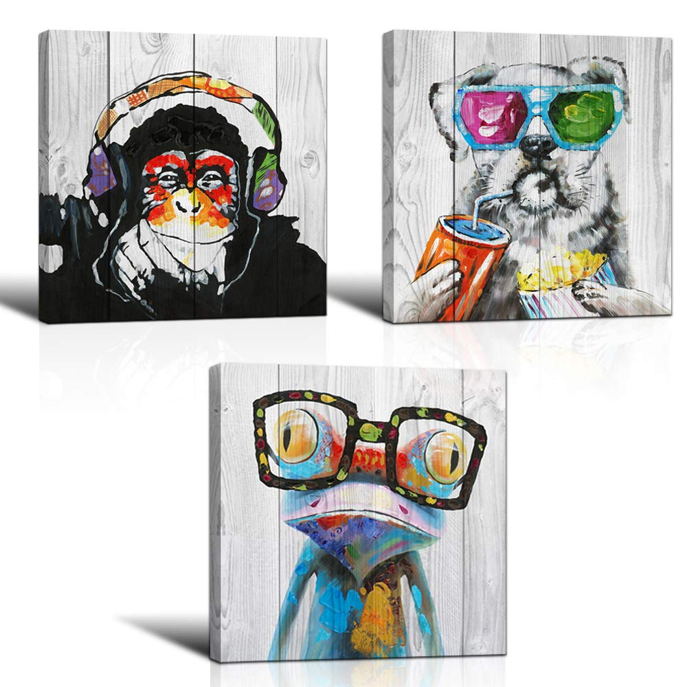"3 Piece Animal Canvas Art Abstract Frog Gorilla Dog Print on Rustic Wood Background Picture Framed Paintings Wall Art for Home Decor 12""x12""x3"