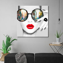 Load image into Gallery viewer, Contemporary Wall Art Modern Fashion Women with Red Lip Canvas Print Stylish Feminine Wall Art Painting Framed Cityscape Piture Ready to Hang for Home Decoration (28x28inch)