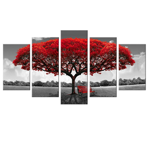 5 Panels Canvas Wall Art Red Tree Picture Prints on Canvas Landscape Painting Modern Giclee Artwork Stretched and Framed Ready to Hang Canvas Art for Home Decoration