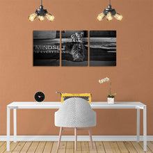 Load image into Gallery viewer, 3 Panels Mindset is Everything Motivational Canvas Wall Art Inspirational Entrepreneur Quotes Poster Print Artwork Painting Picture for Framed Home Decoration Living Room office bedroom 36''W x 16''H