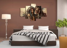 Load image into Gallery viewer, Extra Large Ancient Native American Painting on Canvas 5 Panel Wall Art Retro Indian Chief Mystic Picture Print Artworl Home Decor Framed for Living Room Giclee Stretched Ready to Hang(60''Wx40''H)