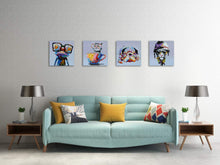 Load image into Gallery viewer, Inzlove Animals Canvas Wall Art Modern Cartoon Oil Painting Print Happy Dog Frog Pictures for Living Room Bedroom Home Decor