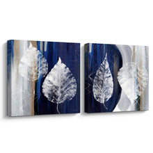 Load image into Gallery viewer, Pi Art Canvas Print Wall Art Floating Silver Leaves on Blue and Gray Background Gallery-Wrapped Canvas Artwork Wall Decor