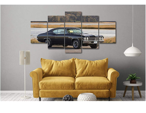 5 Piece Luxury Canvas Posters of Sports Cars Supercar Exotic Luxury Modern Wall Art Decor (5 Piece Extra Large, Chevrolet Chevelle SS 396)