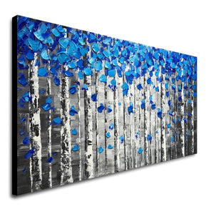 Large Abstract Forest Wall Art Hand Painted Modern Blue Tree Oil Painting on Canvas