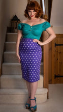 Load image into Gallery viewer, Collectif Polly Pretty Polka Pencil Skirt Purple