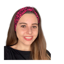 Load image into Gallery viewer, Cerise pink leopard print jersey stretch headband