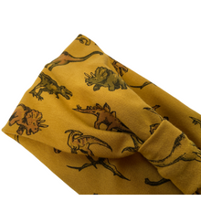 Load image into Gallery viewer, Golden yellow dinosaur print jersey headband
