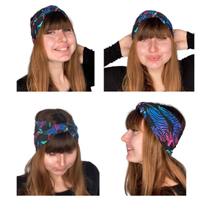 Rainbow zebra headband