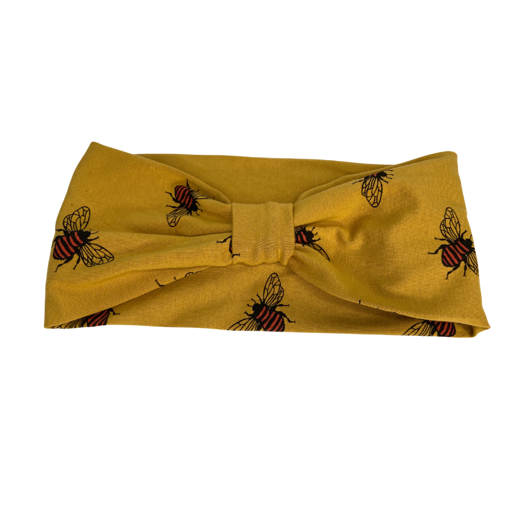 Golden mustard bee jersey headband