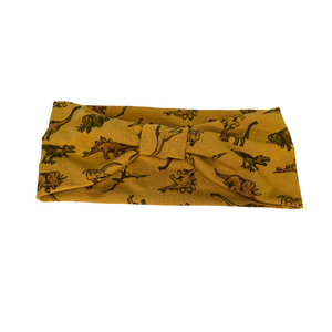 Golden yellow dinosaur print jersey headband