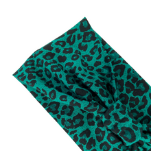 Load image into Gallery viewer, Green leopard print jersey stretch headband