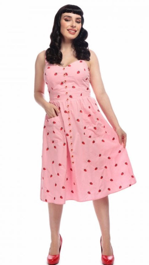 Collectif Mainline Kimberly Embroidered Strawberry Dress