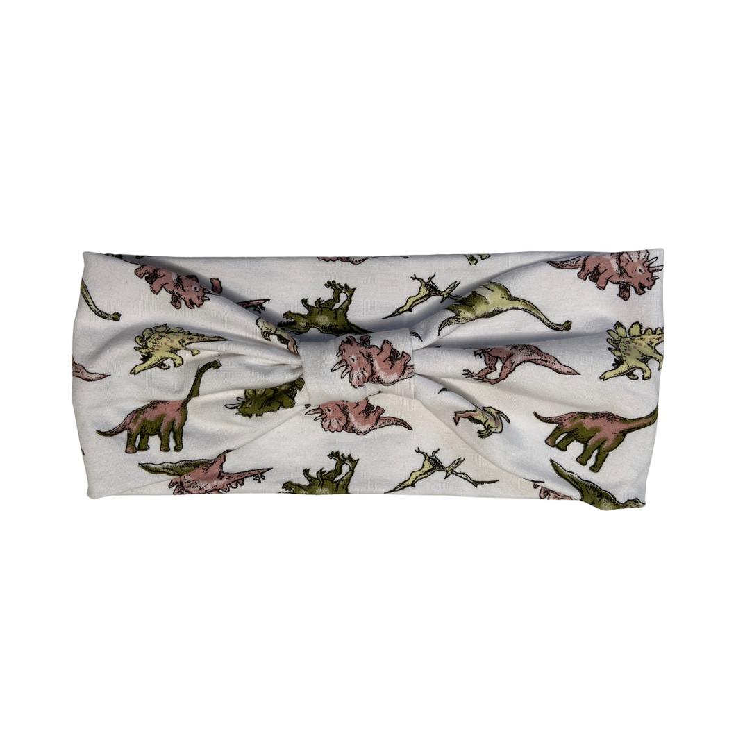 Dinosaur print white jersey stretch headband