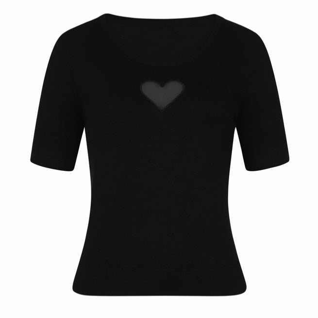 Hell Bunny Heart Jumper Black