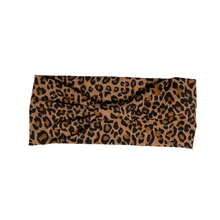 Load image into Gallery viewer, Leopard print natural brown jersey stretch headband