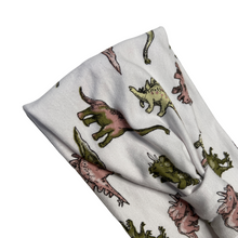 Load image into Gallery viewer, Dinosaur print white jersey stretch headband