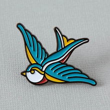 Load image into Gallery viewer, Punky Pins Swallow Tattoo Inspired Enamel Pin