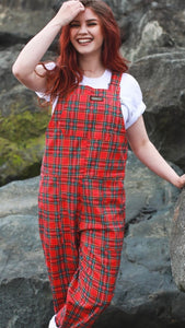 Run & Fly Red Tartan Stretch Twill Dungarees