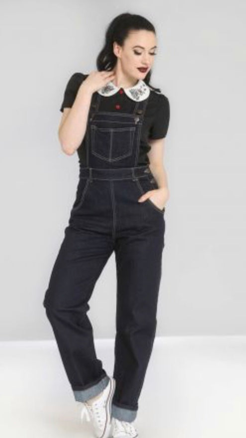 Hell Bunny Elly May Dungarees Blue