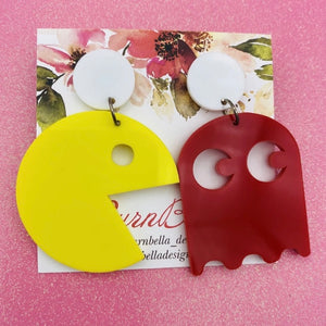 Yellow Pac Man Statement Earrings