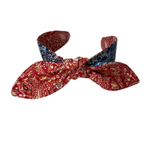 Load image into Gallery viewer, Red and blue paisley reversible headband