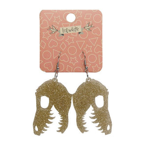 Erstwilder Fossil Glitter Resin Drop Earrings Gold