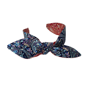 Red and blue paisley reversible headband