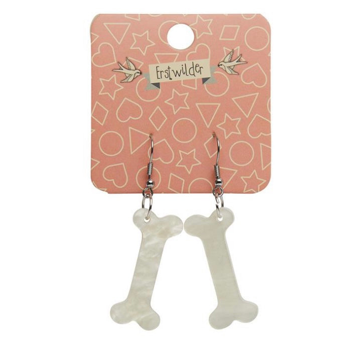 Erstwilder Bones Ripple Resin Drop Earrings Cream