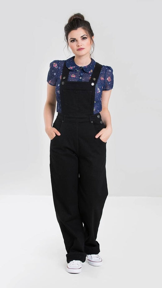 Hell Bunny Elly May Black Dungarees