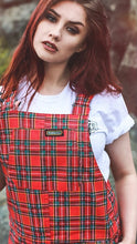 Load image into Gallery viewer, Run & Fly Red Tartan Stretch Twill Dungarees