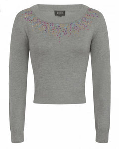 Bright & Beautiful Mabel Sequin Cropped Jumper