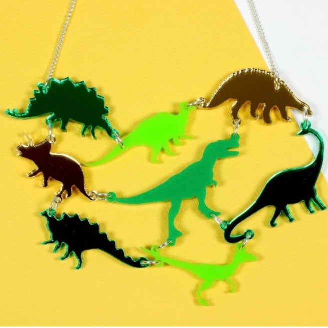 Punky Pins Dinosaur Gang Acrylic Necklace Green
