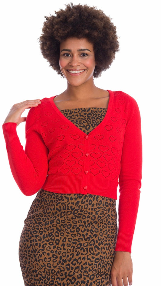 Love Heart Cardigan Red