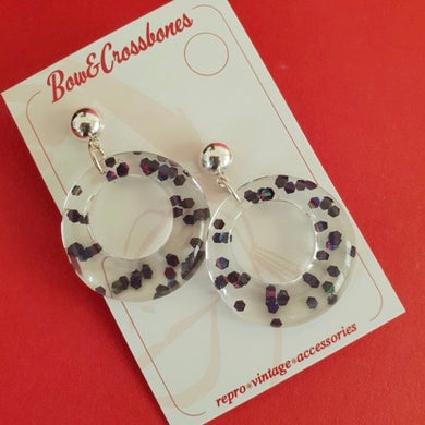 Amelia Earrings Clear & Black